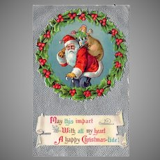 Vintage Embossed Christmas Postcard with Santa & Sack of Toys