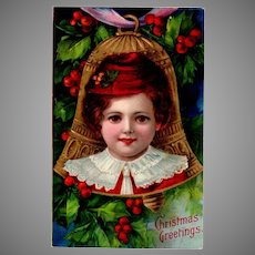 Vintage Christmas Postcard with Vivid Colors and Young Child