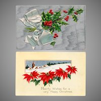 Vintage Christmas Postcards – Two with Holiday Flowers