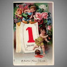 Vintage Embossed German Postcard for New Year's with Cherubs