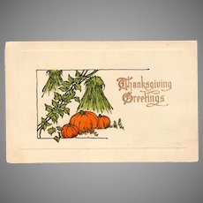 Vintage Thanksgiving Postcard with Fall Pumpkin Harvest Scene