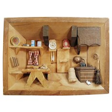 Vintage Folk Art Shadow Box with Miniature Kitchen Scene - 1970's Enesco Imports
