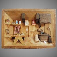 Vintage Folk Art Shadow Box with Miniature Kitchen Scene - 1970's Enesco Imports
