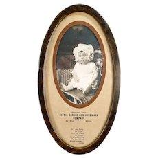 Vintage Elyria Nebraska Garage and Hardware Advertising - Baby Print in Tin Frame