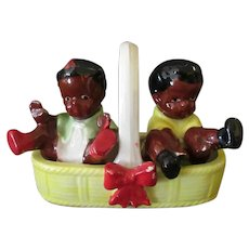 Vintage Black Memorabilia – Boy and Girl Salt and Pepper in Basket