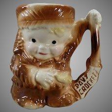 Childs Vintage Davy Crockett Ceramic Mug by Brush Pottery - 1950's