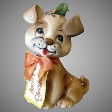 Vintage Josef Original – Holiday Puppy Dog with Original Merry Christmas Tag