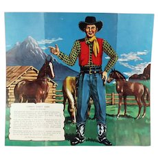 Unusual Pin the Tail on the Donkey Variation - Children's Vintage Cowboy Party Game