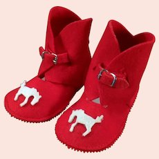 Vintage Baby Felt Boot Booties - Christmas Red Slipper Shoes with Applied Horses