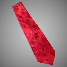 Vintage Red Toned Necktie Christmas Party Perfect - Hand Made 100% Thai Silk