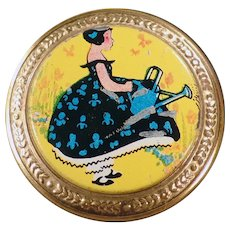 Small Vintage Compact with Colorful with Little Girl on the Lid