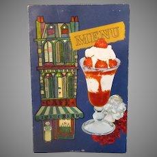 Vintage Oil Bowl Snack Bar Restaurant Menu with Carnation Milk Advertising