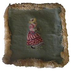 Vintage Needlepoint Pillow Cover – Pretty Needle Work with Fringe
