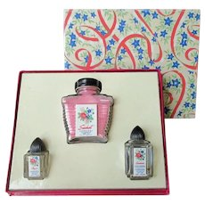 Vintage Cardinal Sachet and Perfume Bottles - Boxed Set with Little Bottles