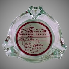 Vintage Glass Advertising Ashtray with Cowboy - Western Realty from Boise, Idaho