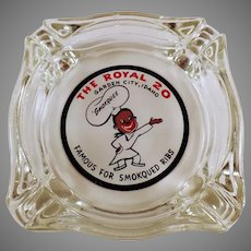 Vintage Glass Advertising Ashtray - The Royal Restaurant of Garden City, Idaho