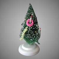 "Vintage 6"" Miniature Bottle Brush Christmas Tree with Ornaments & Flocked Tips"