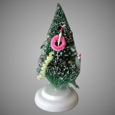 """Vintage 6"""" Miniature Bottle Brush Christmas Tree with Ornaments & Flocked Tips"""