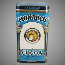 Vintage Monarch Breakfast Cocoa Tin with Nice Graphics - Large Size