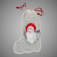 Vintage Net Christmas Stocking Candy Container/Ornament with Santa Claus Face