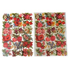 Vintage German EAS Floral Scrap Sheets for Scrapbooking and Decoupage