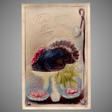 Vintage German Thanksgiving Postcard with an Embossed Turkey on a Platter