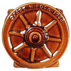 Vintage Frankoma Pottery - Wagon Wheel Pattern Souvenir Sugar Bowl 1988 - Coffee Glaze