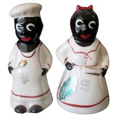 Vintage Mammy and Chef Salt and Pepper – Holley Ross China - Black Memorabilia