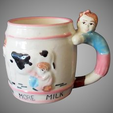 Child's Vintage Milk Mug Cup – Drink More Milk with Cow & Figural Handle