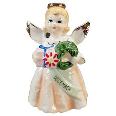 Vintage December Birthday Angel with Christmas Wreath - 1950's-1960's
