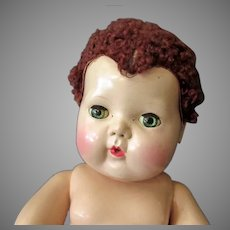 Vintage Tiny Tears Baby Doll with Brown Caracul Lamb's Wool Wig