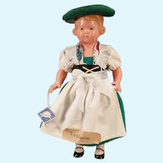 Vintage Rheinische Gummi Turtle Mark Celluloid Doll with Original Tyrolean Outfit