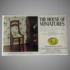 Vintage Xacto House of Miniatures Doll Furniture Kit – #40007 Two Unassembled Side Chairs
