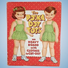 Vintage 1959 Polka Dot Tots Paper Dolls - Polly, Peter, Clothes and Box
