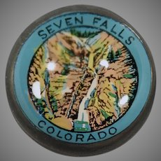 Vintage Domed Glass Advertising Paperweight - Seven Falls Colorado Souvenir