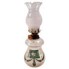 Vintage Miniature Kerosene Oil Lamp - Small Glass Lamp with Hurricane Shade