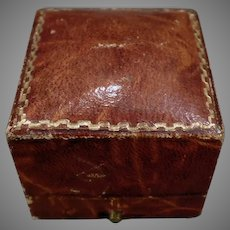 Vintage Ring Box – Masculine, Brown Leatherette Paper Covered Jewelry Box