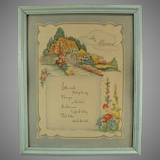 Framed Vintage Motto Print for Mom with Love to Mother Poem