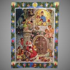 Vintage West German Christmas Advent Calendar with Santa and Angels