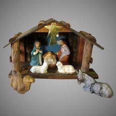 Vintage 1950's Hand Painted Nativity Scene Set with Original Box