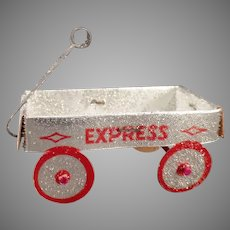 Vintage Christmas Tree Ornament – Coralene, Silver Express Wagon New Old Stock