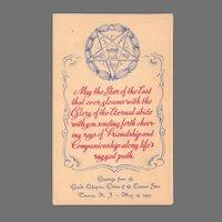 Vintage Eastern Star Masonic Postcard 1943 Grand Chapter Trenton New Jersey