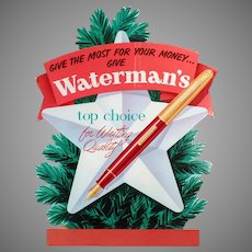 Vintage Waterman's Fountain Pen Christmas Advertising Sign - Cardboard Countertop Easel Sign