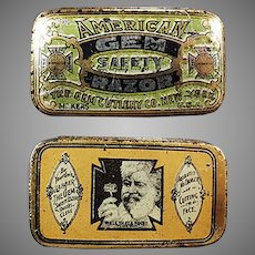 Antique Advertising Tin -  American Gem, Wedge Razor Blade Tin