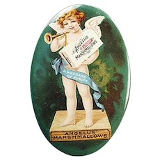 Vintage Advertising Celluloid Pocket Mirror for Angelus Marshmallows with Colorful Cherub