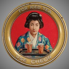 Vintage Advertising Tip Tray - Cheon Tea with Beautiful Oriental Girl & Colorful Graphics