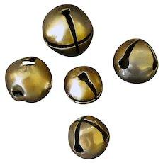 Vintage Jingle Bells – Five Large Gold Bells for Christmas or Crafts