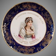 Vintage Knights Templar Souvenir Portrait Plate with Josephine - 1901