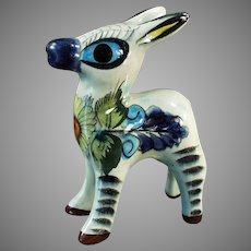Vintage Mexican Pottery Pinata Donkey - Colorful Little Burro Figurine