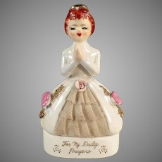 Vintage Porcelain Praying Girl Rosary Bead Dresser Jar - For My Daily Prayers